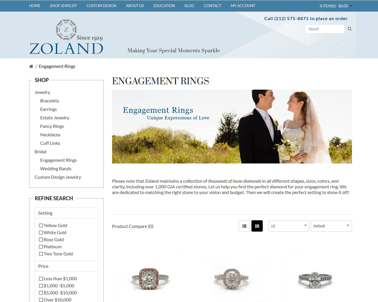 Jewelry Shopping Cart Web Design